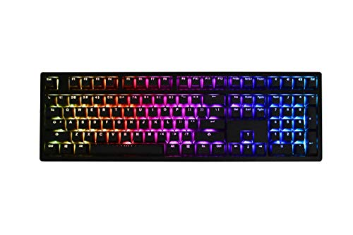 iKBC MF108 v2 RGB LED Backlit Mechanical Keyboard with Cherry MX Red Switch for Windows and Mac, Full Size Computer Keyboards with PBT Doubleshot Keycaps, CNC Aluminum Black Case, ANSI/US