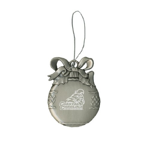 Coastal Carolina Silver Bulb Ornament 'Official Logo Engraved' by CollegeFanGear