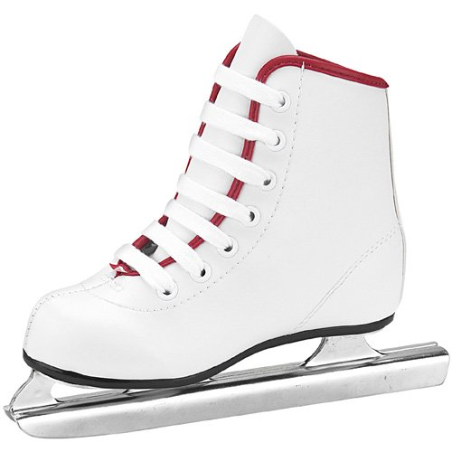 American Athletic Shoe Girl's Little Rocket Double Runner Ice Skates, White, 11