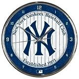 New York Yankees Round Chrome Wall Clock