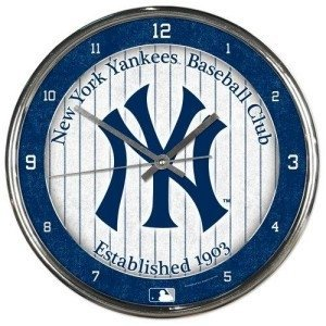 - New York Yankees Round Chrome Wall Clock