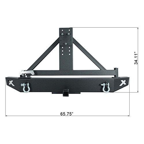 "Restyling Factory Black Jeep Wrangler JK Rear Bumper with Tire Carrier and JK 2"" Hitch Receiver"