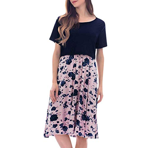 - Maternity Dresses for Women,Delivery/Labor/Nursing Nightgown Pregnancy Breastfeeding Dress Navy