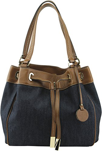 fd09aade3843 Michael Kors Marina Large Drawstring Tote Cotton canvas Dark ...