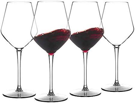 COOKY.D Vasos de vino de plástico Tritan-rojo burdeos de 445 ml, irrompibles con tallo largo para fiestas, cumpleaños, aptas para lavavajillas, sin BPA, juego de 4