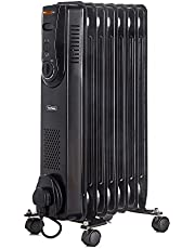 VonHaus Oil Filled Radiator 1.5KW 7 Fin – Portable Electric Heater – 3 Power Settings, Adjustable Temperature & Tip Over Safety Switch – Black 1500W