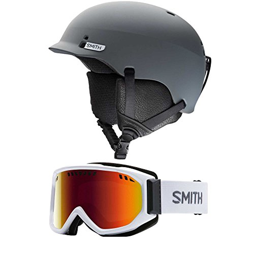 Smith Optics Charcoal Gage Unisex Ski Helmet & Scope Snow Goggle (Choose Your Size Helmet and Goggle Color) (White/Red Sol X Goggle, - Optics Smith Discount