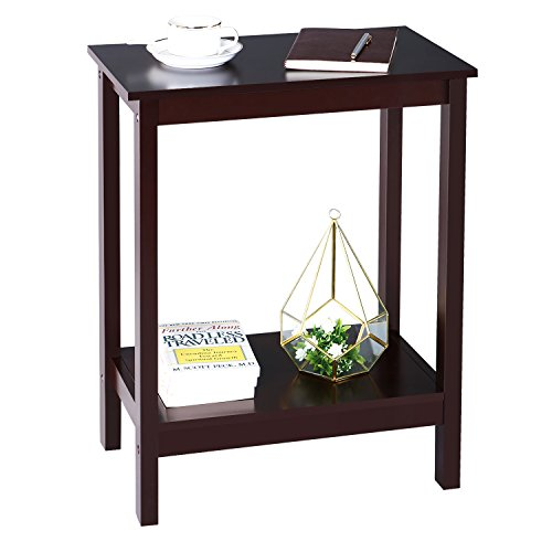 SONGMICS 2 Tier Sofa End Side Table Simplistic Narrow Nightstand Bedside Corner Table Open Shelf for Storage Living Room Espresso ULET04BR