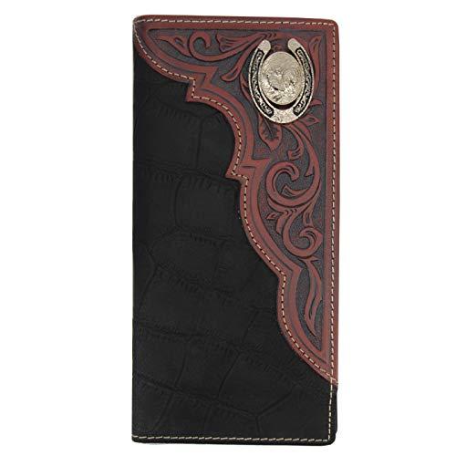 Men's Genuine Leather Wallet Long Bifold Western Wallet Checkbook for Men -
