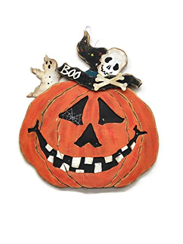Hanna's Handiwork Halloween JackoLantern Lightup Easel with LED Wooden Pumpkin Easel with LED Lights Battery Powered ()