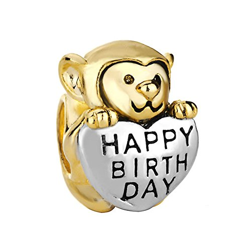 Q&Charms Monkey Happy Birthday Sale Christmas Heart Love Gift Gold Plated Beads Fit Pandora Bracelet ()