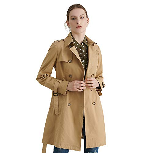 LilySilk Silk Trench Coat for Women Long Classic Double Breasted Lightweight Vintage Fashion Outerwear Khaki (Silk Vintage Coat)