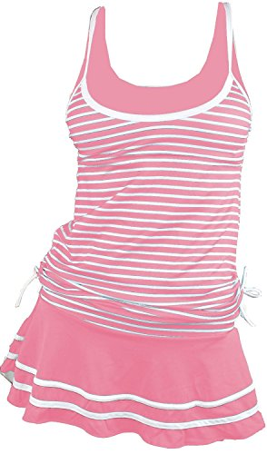 (MiYang Women's Tankini Striped Vintage Swim Dress Pink Medium)