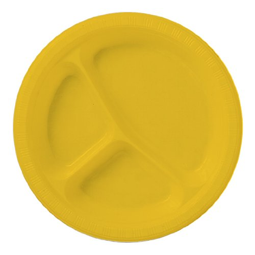 School Bus Yellow Divided Plastic Plate