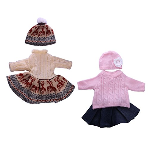 Dress American Girl 18' Doll (MagiDeal 2 sets Sweater Pleated Dress Skirt Dress Hat Clothes for 18'' American Girl Doll Our Generation Doll Outfit Jeans Skirt Costumes)