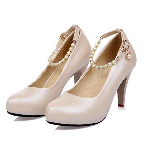 AllhqFashion Damen Lackleder Ziehen auf Rund Zehe Mittler Absatz Rein Pumps Schuhe Aprikosen Farbe