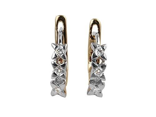 Birgie Diamants et Bijoux - Boucles d'Oreilles Trois Diamants 0.21 Carat-Femme- or Blanc 201E0014