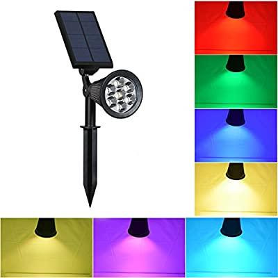 Solar Lights Outdoor - Waterproof 7 LED Changing Color Solar Spotlight Adjustable Wall Light Landscape Light Bright & Dark Sensing Auto On/Off Solar Garden Light for the Yard Patio Deck Stair Pool