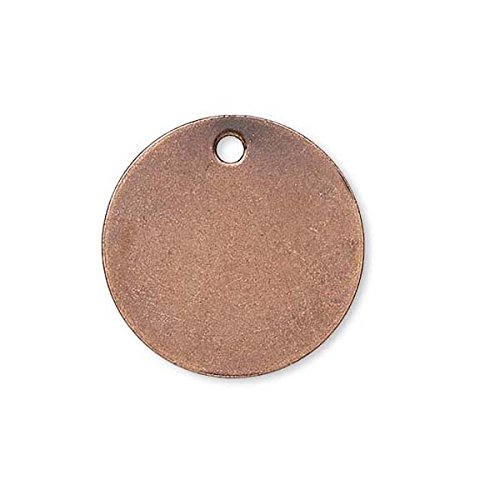 100 Flat 12mm Round Circle Blank Coin Drop Stamping Charms Plated Brass Metal (Antique Copper Plated) (Stamping Brass Antique)