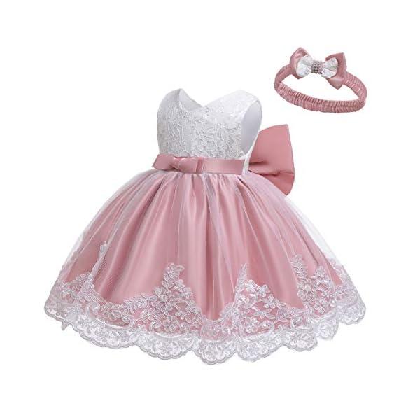 LZH Ragazza Gonna a Fiori in Pizzo 3D Senza Maniche Vestito da Principessa delle Feste 3