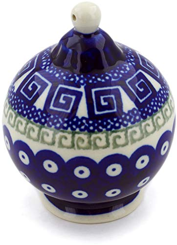 (Polish Pottery 4¼-inch Ornament Christmas Ball (Grecian Peacock Theme) + Certificate of Authenticity)
