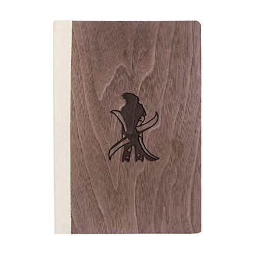 Sasuke Stand Tall Deca (Walnut Wood) Wooden Notebook - Eco-Friendly Natural & Premium Thick Paper - Sketchbook Rustic Wood Wedding Guest Book