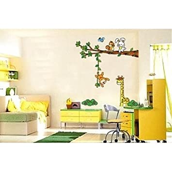 Childrens Room Wall Stickers Jungle Animals Fun, Nursery Stickers, Animal  Wall Paper Stickers Part 74