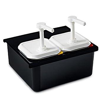 Araven - Set 2 dispensadores de salsas GN 1/6 y expositor negro