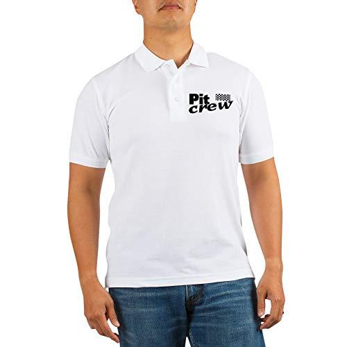 - CafePress Pit Crew Racing Flag Golf Shirt Golf Shirt, Pique Knit Golf Polo White