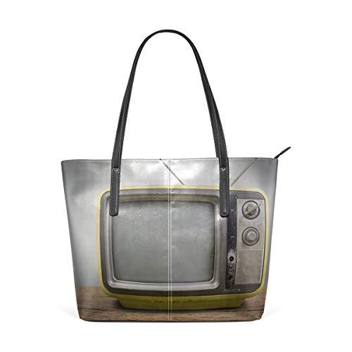 (Laptop Tote Bag Retro-vintage Orange Tv Large Printed Shoulder Bags Handbag Pu Leather Top Handle Satchel Purse Lightweight Work Tote Bag For Women Girls)