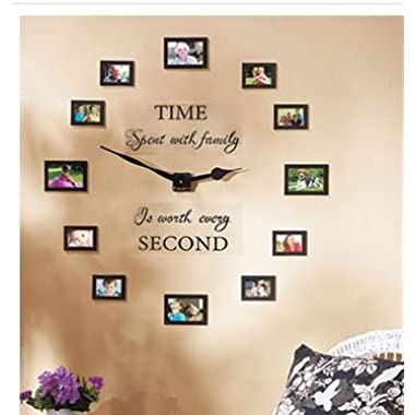Sentiment Photo Wall Clock , Decal and Picture Frames Kit  Time Spent with Family Is Worth Every Second