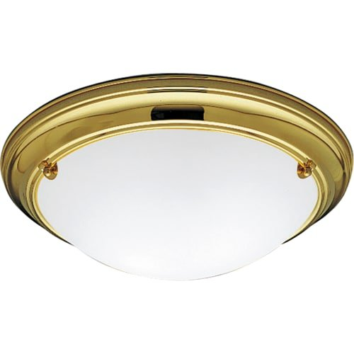 Progress Lighting P3562-10EB Close-To-Ceiling Fixture with Satin-White Glass and 120 Volt/277 Volt High Power Factor Ballast, Polished Brass