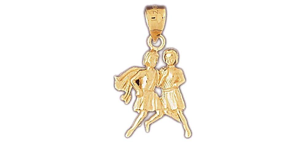 Gemini Pendant 14k Yellow Gold Zodiac