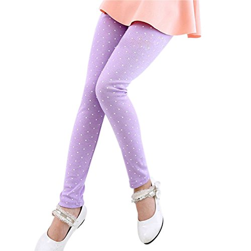 (Soly Tech Baby Girls Polka Dot Ankle Length Basic Leggings Skinny Stretchy)