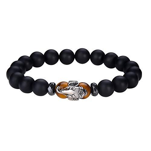 Black Onyx Mans Bracelet - Jeka Elephant Charm Anxiety Gemstone Bracelet for Men Women 10mm Black Agate Onyx Tiger Eye Stone Healing Energy Wrist Wrap Stretch Beads