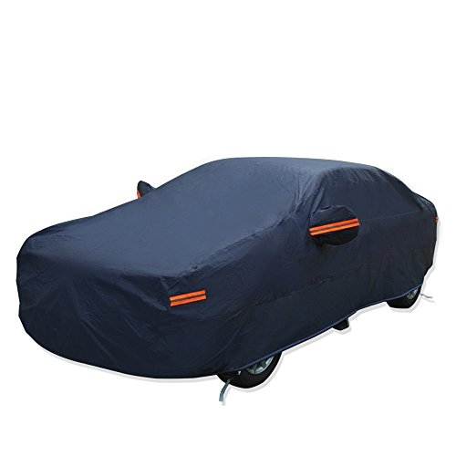 - YITAMOTOR Car Cover Hot Welted Seamless PEVA Cotton Lining All Weather Protection Rain Sun Snow Dustproof Waterproof Outdoor Indoor Auto Protector (Fits Cars up to 192'' L, Dark Blue)