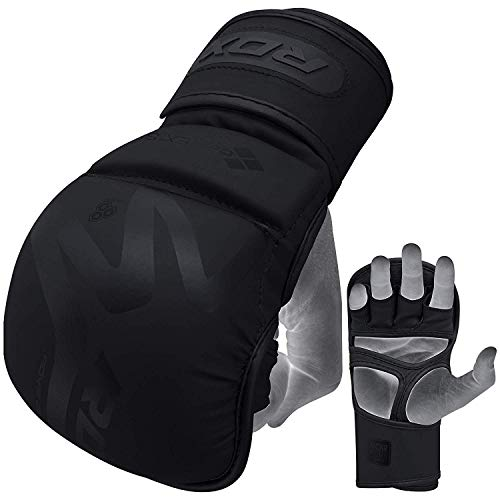 (RDX MMA Gloves for Martial Arts Training & Sparring | Y-Volar Palm Matte Black Convex Skin Leather Grappling Mitts |Great for Kickboxing, Muay Thai, Punching Bag & Cage Fighting)