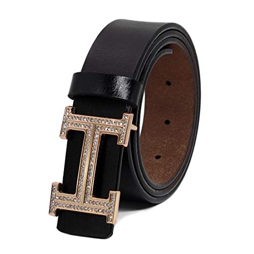 Women's Cowhide Leather Belt Fashion Buckle for Pants Jeans Shorts Ladies Design Genuine Belts (110cm/43.3'', pants size 29''-34'', Style 2- Black) by DUOAI