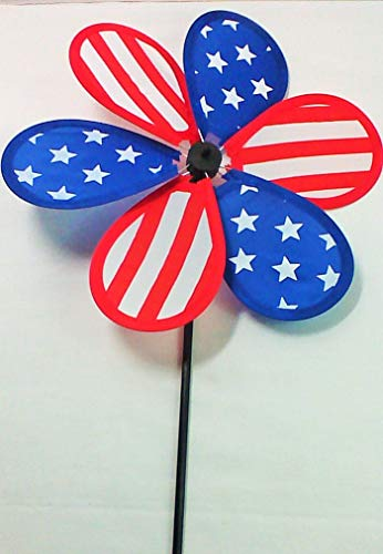 2 Pieces Pack 4 July Patriotic Pinwheels Flower 6 Petals with Stars and Stripes 26 L x 10.25 W inch ()