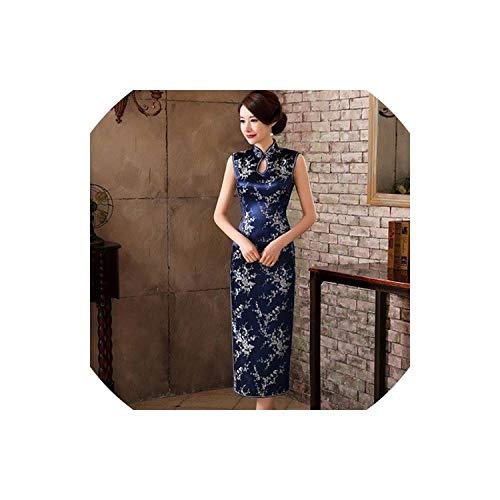 shine-shine Cheongsam Satin Robe Rouge XXXL Evening Cheongsam Dresses,Deep Blue,M
