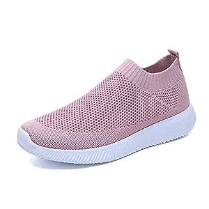 ZOZOE Women Ultra Flex Sneaker Knitted Elastic Casual Walking Shoes Women's Sneakers Lightweight Breathable Mesh Athletic Running Non Slip Sports Work