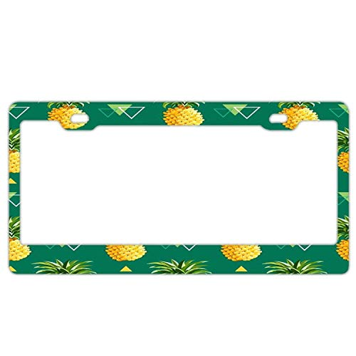 YEX Abstract Green Yellow Pineapple License Plate Frame Novelty Car Tag Frame Auto Metal License Plate Holder 12