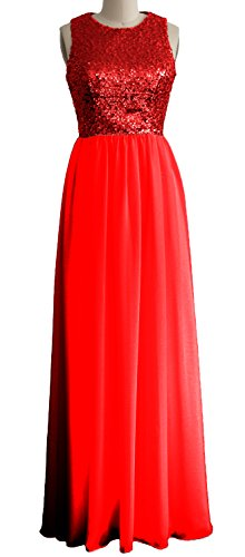 Rot MACloth Bridesmaid Gown Long Formal Evening Chiffon Sequin Dress Neck Women O 1qTwrP1