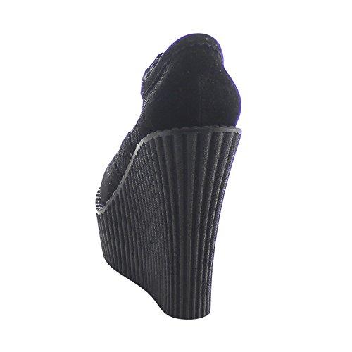 Creeper-307 met sleehak en kanten detail zwart - Emo Gothic