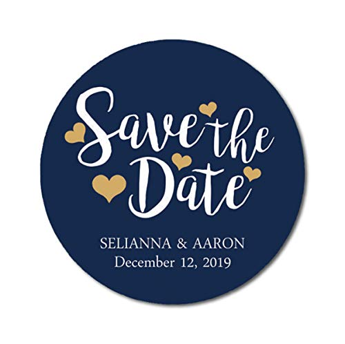 Darling Souvenir Personalized Bride Groom Names and Date Envelope Seals Round 45 Pcs Heart Calligraphy Save The Date Stickers - Navy -