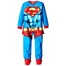"Superman Little Boys' ""Muscle Suit"" 1-Piece Pajamas with Cape"