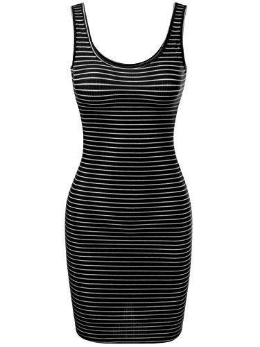 BEYONDFAB Women's Stripe Sleeveless Scoop Neck Knit Tank Bodycon Dress Black - Apron Neck Scoop