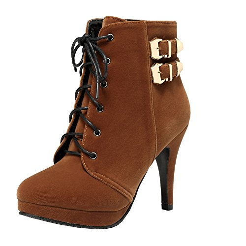 Boots up Platform Stylish getmorebeauty Motorcycle Lace Womens Shoes Brown High Heel Hot Stiletto Sexy qwTFPw