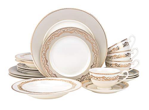 EURO Porcelain 20-pc. Dinner Set Service for 4, 24K Gold-plated Luxury Bone China Tableware (6430-20) - Euro White Porcelain