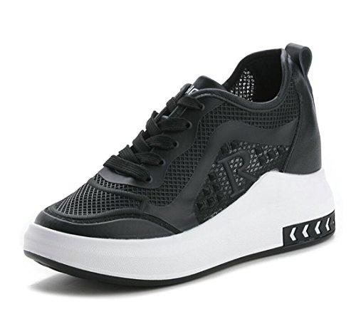 Cuñas Mujer para Talón Casuales Hollow Zapatos Transpirable Zapatos para Oculto Zapatillas Talón Deportes DANDANJIE Correr Negro FEqtO